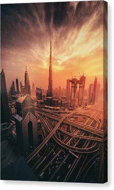 Modern Architecture Canvas Print - Dubai's Fiery Sunset by David George