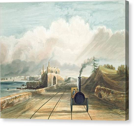 Steam Trains Canvas Print - Dublin And Kingstown Railway From by Andrew Nicholl