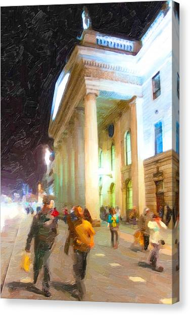 Dublin Ireland Post Office At Night Canvas Print by Mark Tisdale