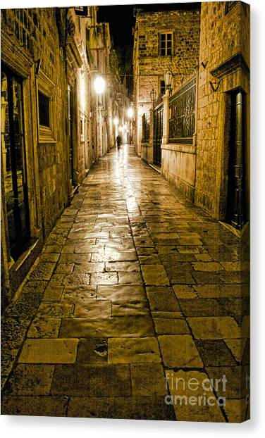 Dubrovnik Streets At Night Canvas Print