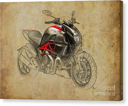 Ducati Canvas Print - Ducati Diavel Carbon 2011 by Pablo Franchi