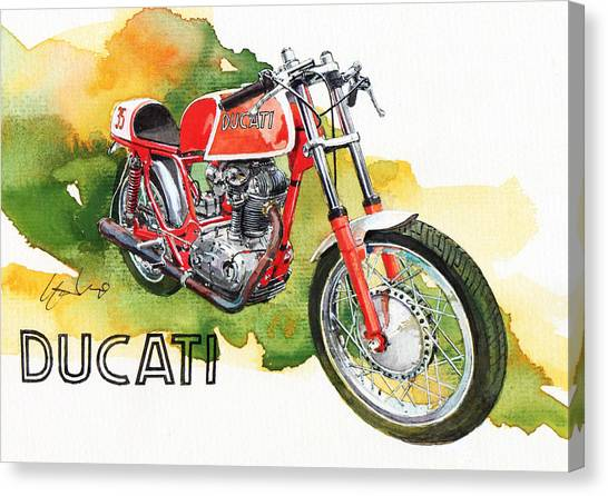 Ducati Canvas Print - Ducati Racer by Yoshiharu Miyakawa