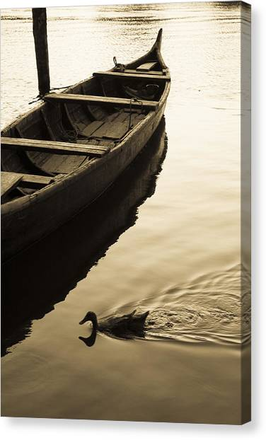 Duck And Boat Canvas Print
