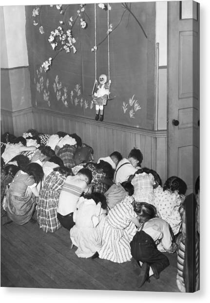 Elementary School Canvas Print - Duck And Cover Drill by Underwood Archives