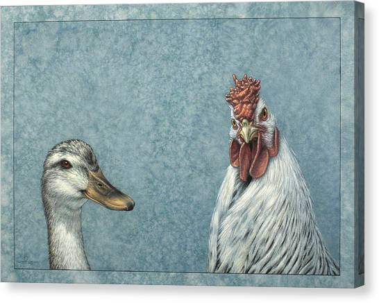 Farm Animals Canvas Print - Duck Chicken by James W Johnson