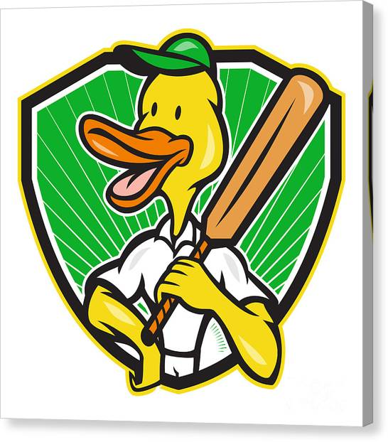 Duck Cricket Player Batsman Cartoon Canvas Print by Aloysius Patrimonio