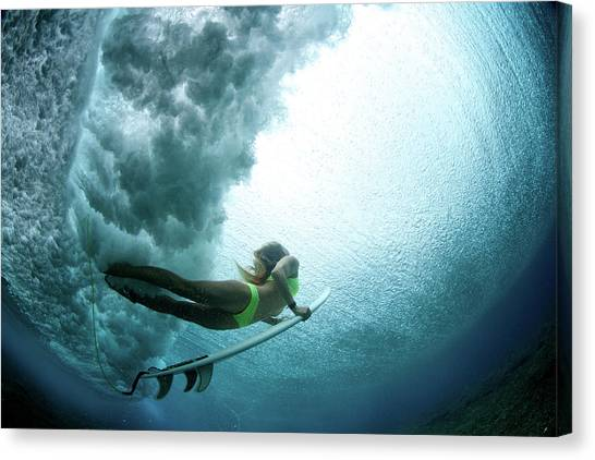 Duck Dive From Beneath The Water Canvas Print by Richinpit