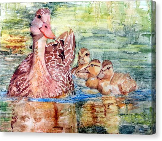Duck Family Canvas Print