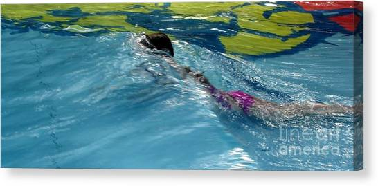 Ducking Under A Wave In A Pool Canvas Print