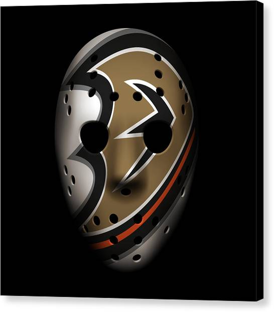 Anaheim Ducks Canvas Print - Ducks Goalie Mask by Joe Hamilton