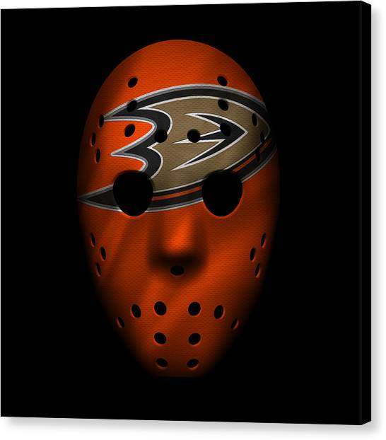 Anaheim Ducks Canvas Print - Ducks Jersey Mask by Joe Hamilton