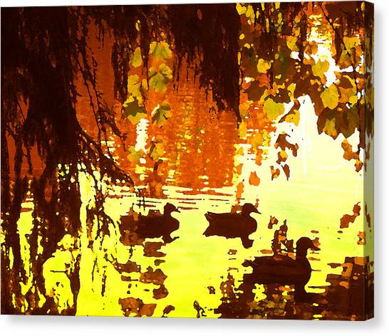Ducks On Red Lake Canvas Print