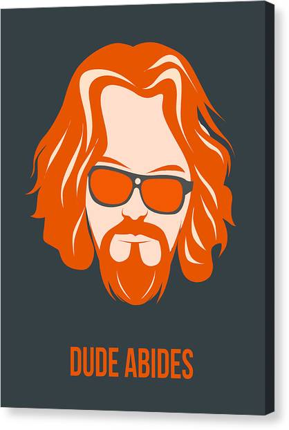Tv Shows Canvas Print - Dude Abides Orange Poster by Naxart Studio