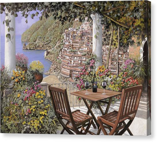 Italy Canvas Print - due bicchieri a Positano by Guido Borelli