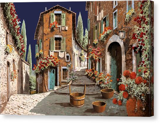 Cypress Canvas Print - Due Strade Al Mattino by Guido Borelli