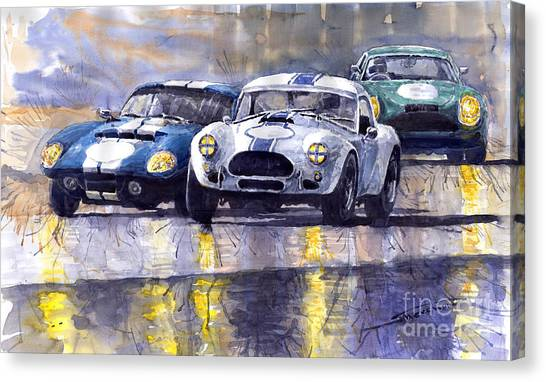 Cobras Canvas Print - Duel Ac Cobra And Shelby Daytona Coupe 1965 by Yuriy Shevchuk