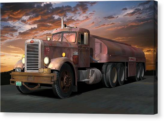 Duel Truck With Trailer Canvas Print