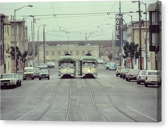 N Judah Dueling Streetcars.  End Of Judah Street.  1970s. Canvas Print