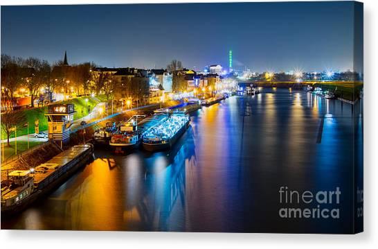 Duisburg Rhine East Bank Dammst Canvas Print