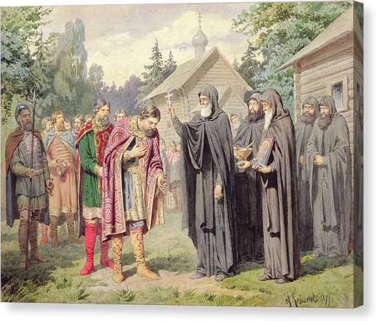 Priests Canvas Print - Duke Dimitry And St. Sergy At Redonezh Before Battle With Tartars, 1880 Wc On Paper by Aleksei Danilovich Kivshenko