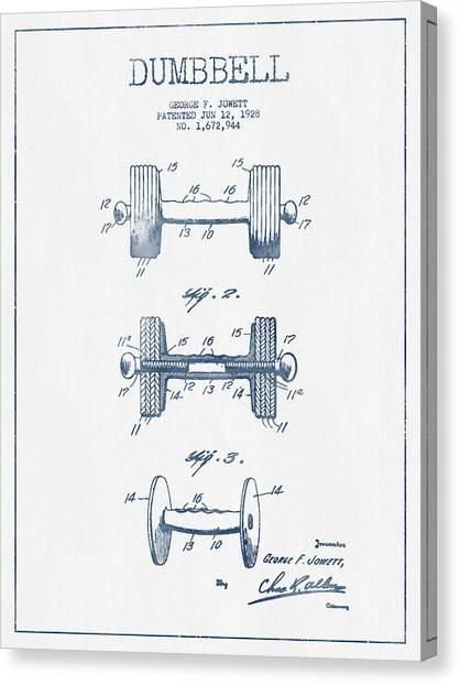 Gym Canvas Print - Dumbbell Patent Drawing From 1927  -  Blue Ink by Aged Pixel