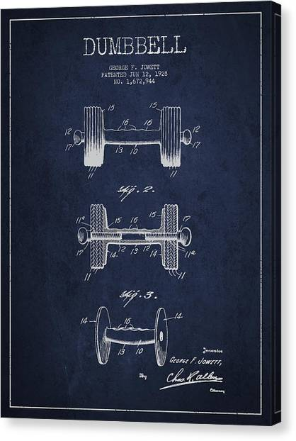 Gym Canvas Print - Dumbbell Patent Drawing From 1927 by Aged Pixel