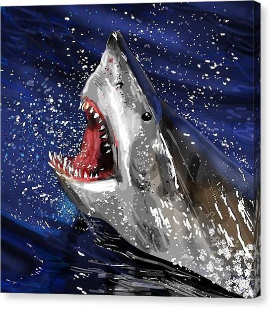 Jaws Canvas Print - Dun Dun, Dundun Dun - #jaws #jawsds2 by David Burles