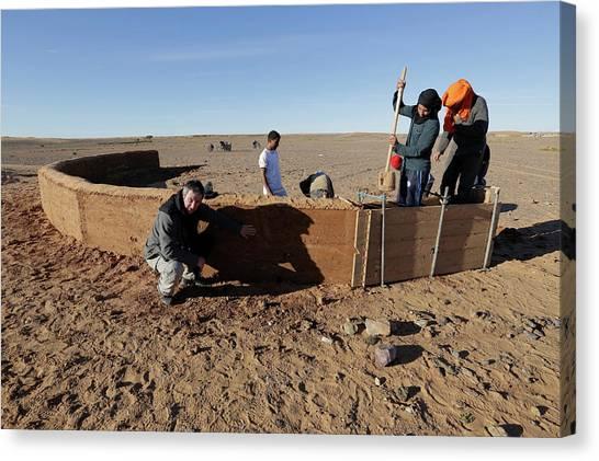 Sahara Desert Canvas Print - Dune Barrier Testing by Thierry Berrod, Mona Lisa Production