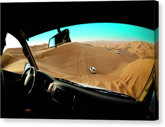Offroading Canvas Print - Dune Bashing In The Empty Quarter by Jereme Thaxton