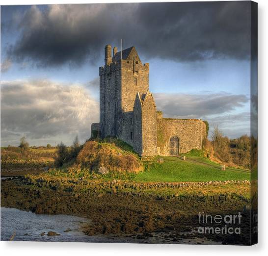Dunguaire Castle With Dramatic Sky Kinvara Galway Ireland Canvas Print