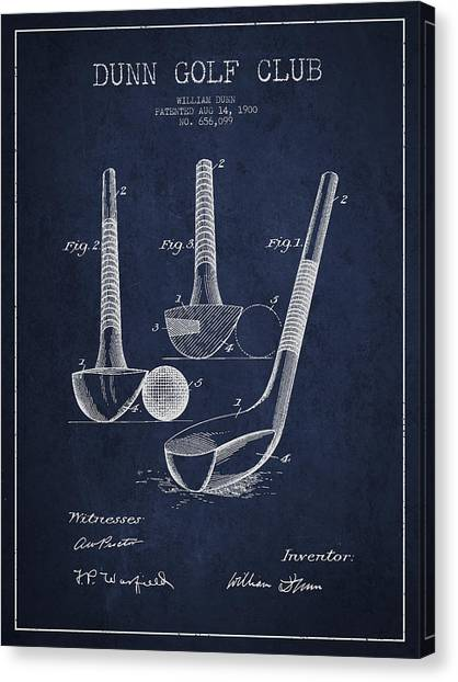 Pga Canvas Print - Dunn Golf Club Patent Drawing From 1900 - Navy Blue by Aged Pixel