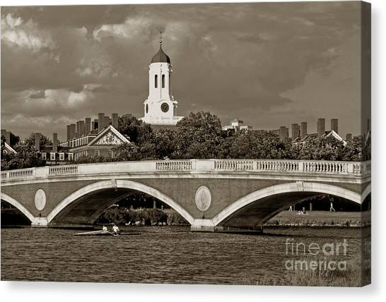 Weeks Bridge Charles River Bw Canvas Print