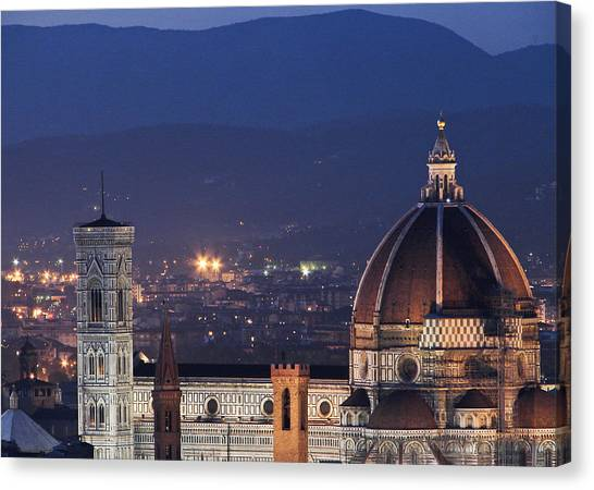 Duomo At Night Florence Italy Canvas Print