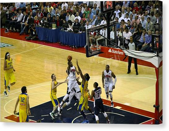 Lebron James Canvas Print - Durant Layup by Steven Hanson