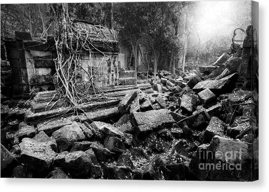 Canvas Print featuring the photograph Dusk At Beng Mealea by Julian Cook