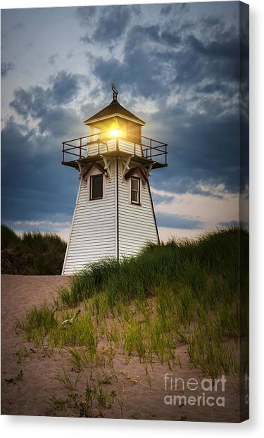 Lighthouse Canvas Print - Dusk At Covehead Harbour Lighthouse by Elena Elisseeva