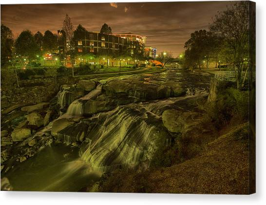Dusk At Falls Park Greenville Sc Canvas Print by Joel Corley