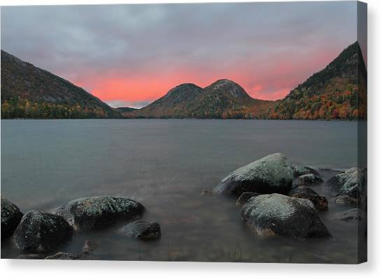 Dusk At Jordan Pond And The Bubbles Canvas Print by Juergen Roth
