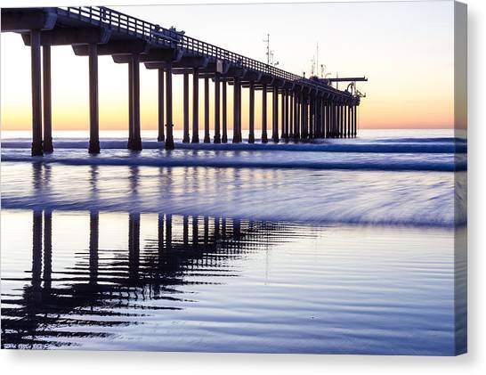 Canvas Print featuring the photograph Dusk At Scripps Pier by Priya Ghose