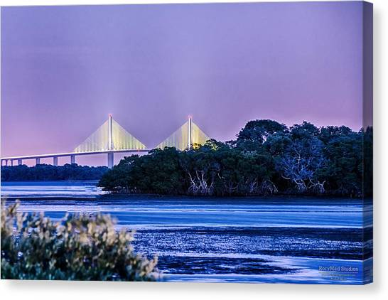 Dusk At The Skyway Bridge Canvas Print