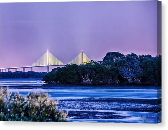 Dusk At The Skyway Bridge Canvas Print
