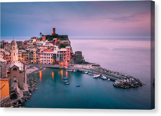 Dusk At Vernazza Canvas Print