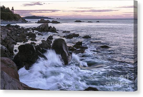 Dusk At West Quoddy Head Light Canvas Print