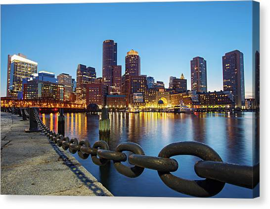 Dusk In Boston Canvas Print