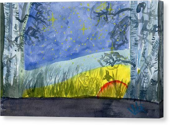 Dusky Scene Of Stars And Beans Canvas Print