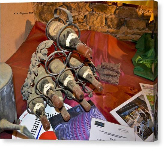 Oingt Canvas Print - Dust Covered Wine Bottles by Allen Sheffield