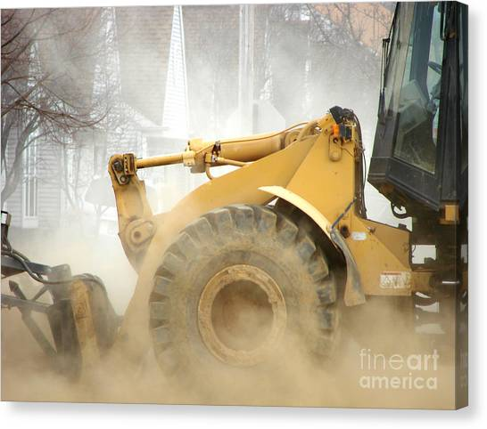 Excavators Canvas Print - Dust Machine by Olivier Le Queinec