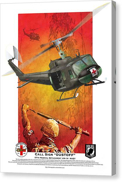 Medivac Canvas Print - Dust Off by Kenneth De Tore