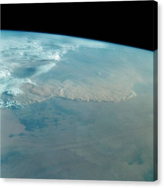 Sahara Desert Canvas Print - Dust Storm Over Sahara Desert From Space Shuttle by Nasa/science Photo Library
