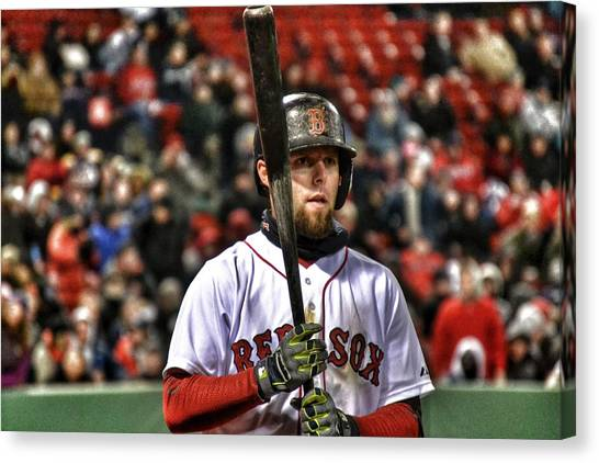 Dustin Pedroia Canvas Print by SoxyGal Photography